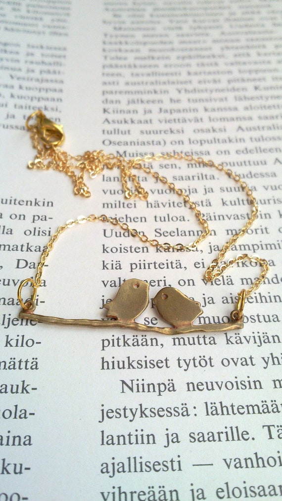 Bird Necklace . Love birds. Gold color chain . Charm . Gift. Two birds on the branch.