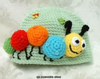 Kirby the Caterpillar Hat  Pattern - crochet