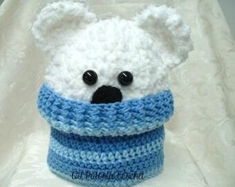 Peppy the Polar Bear in a Sweater Hat - crochet