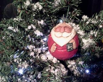 Santa Carved Ornament