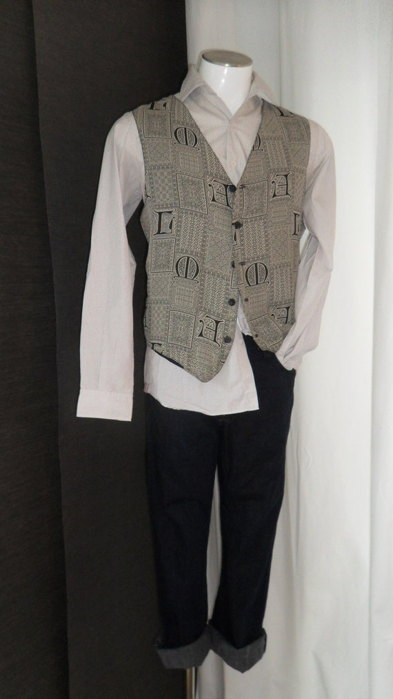 """70s vintage mens GOTHIC -CELTIC FONT """"Man of letters"""" woven silk vest: One size fits all"""