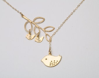 Gold Bird initial necklace,Mom and baby,Mother Jewelry,kid Initial necklace,Mother's day gift,Family necklace,bird on branch,custom monogram