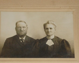 Vintage Photograph - Elderly Couple - Victorian 19th Century - Antique Retro Decor