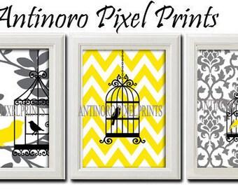 Bird  Prints Vintage / Modern Inspired Art  -Set of 3 - 5 x 7 Prints - Yellow White Grey Black Color (UNFRAMED)