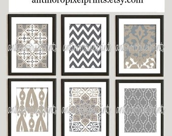 Khaki  Grey Tan White Unframed Vintage / Modern inspired Art Prints Collection -Set of (6) - 11x14 Print (UNFRAMED)