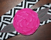 Fabric Flower Headwrap, Headband, Rose, head wrap, hair, covering, chevron, rosette, pink
