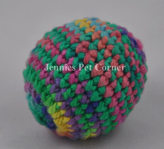 Psychedelic Hand Crochet Cotton Jingle Ball Cat Toy