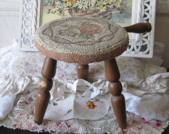 Darling Little Milking Stool. Decorative Rug Hooked  Top