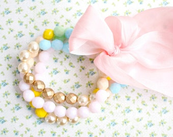 Pink and Pearl Pastel Bead Bracelet Set of Three with Pink Silk Ribbon