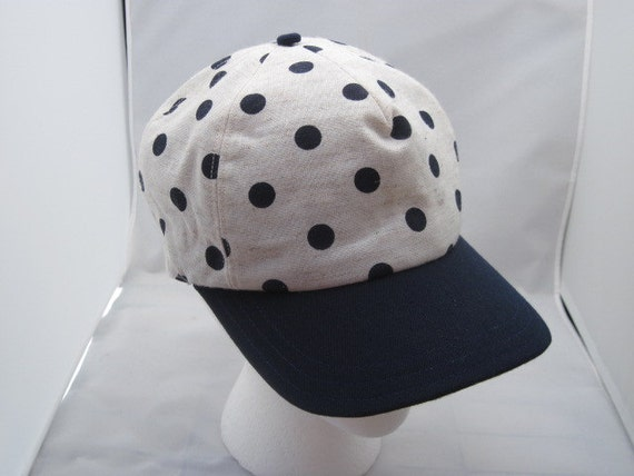 Navy Blue Polka Dot Baseball Cap with Suede