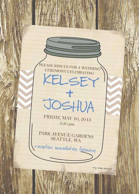 Rustic Mason Jar Wedding Invitation, DIY Printable, digital file (item ...