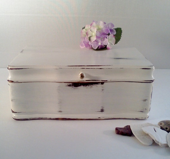 Shabby Chic Jewelry Box French Farmhouse Chippy White Paint