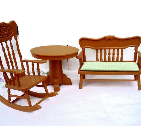Vintage Doll House Furniture Rocking chair table bench 1970s