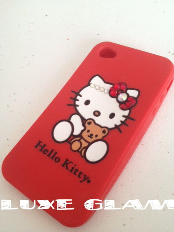CLOSEOUT SALE -  Printed iPhone 4 4S Hello Kitty Case with Swarovski bow and headband