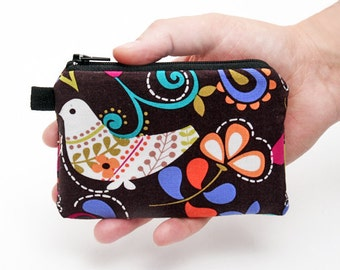 Mini makeup bag, small women's zipper purse, travel wallet, zipper change purse, fabric coin pouch - birds and flowers in brown