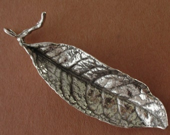 large silver leaf charm, long leaf pendant, sterling silver, jewelry making supplies LC004