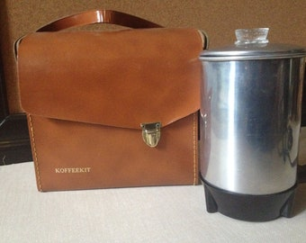1950s Retro Coffee Maker Travel Carry Case Original Box Koffee Kit