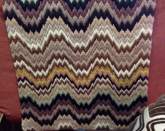 1970s Retro Tapestry Throw Blanket Runner Earthy Colors