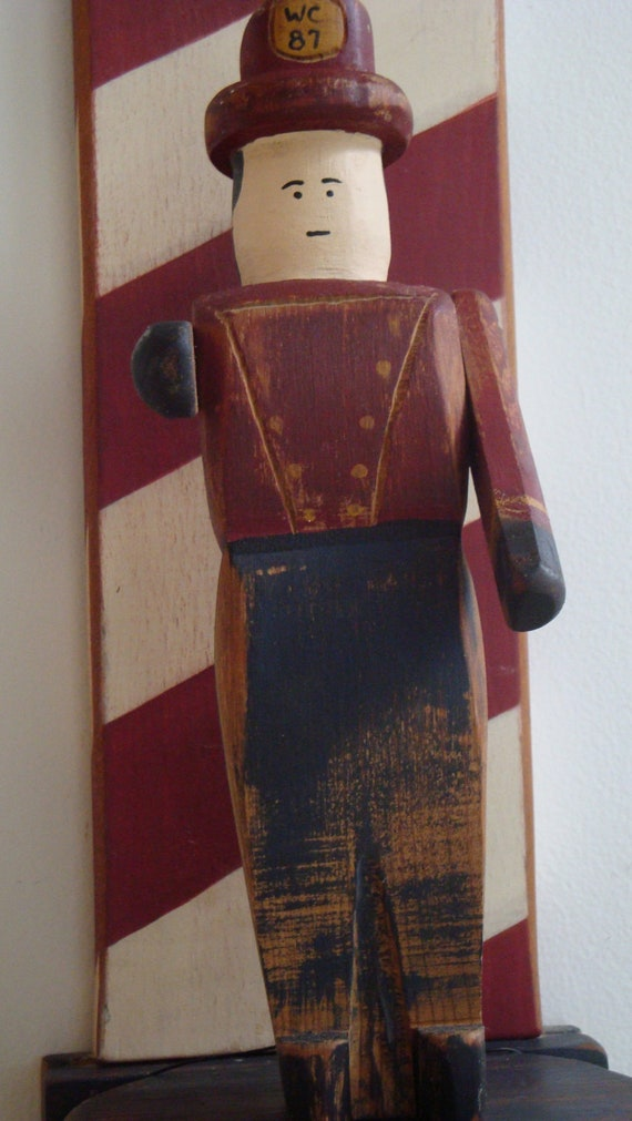 Wolf Creek Primitive Wooden Folk Art Fireman