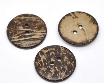 5 Large Wooden Buttons - 1.5 inch - 38mm - Wood Buttons -  Coconut Wood