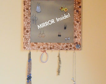 Jewelry, Mirrored Earring Organizer, Abstract, jewelry storage, art, vanity, necklace hanger, wall mount, jewelry box (Patent Pending)