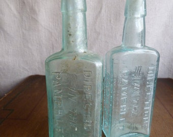Antique Vintage Medicine Apothecary Bottle - Barry's Tricopherous for the Hair and Skin - Set of 2