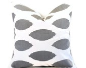 Charcoal Gray Pillow.20x20 inch.Pillow Cover.Printed Fabric.Spotted Pillow.Ikat Pillow