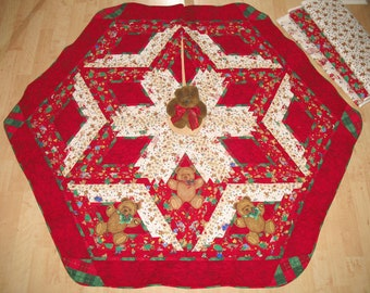 Quilted Applique Christmas Tree Skirt Teddy Applique 119