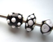 SALE 3  Big hole beads, handmade lampwork beads  with silverplated core inside , made by me in my home studio