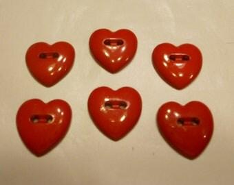 6 heart buttons, 18 x 17 mm (24)