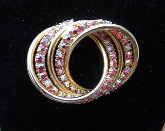 Vintage Rhinestone Brooch, Aurora Borealis, Gold Tone, Pretty Colors, Large Size