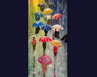 "Original Painting Umbrellas - 32 x 12""- Acrylic Rain Impasto Painting - Blue Red Orange -  Abstract Landscape - Large Size - Made To Order"