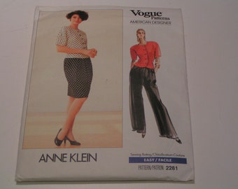 Vintage Vogue Pattern 2281 Anne Klein American Designer Miss Top Skirt Pants