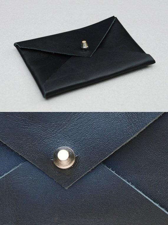 Matte Black Leather Envelope Business Card Holder