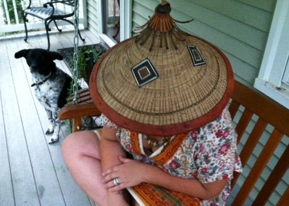 Vintage South East Asian Farmer's Sun Ethnic Hat with Leather Detailing