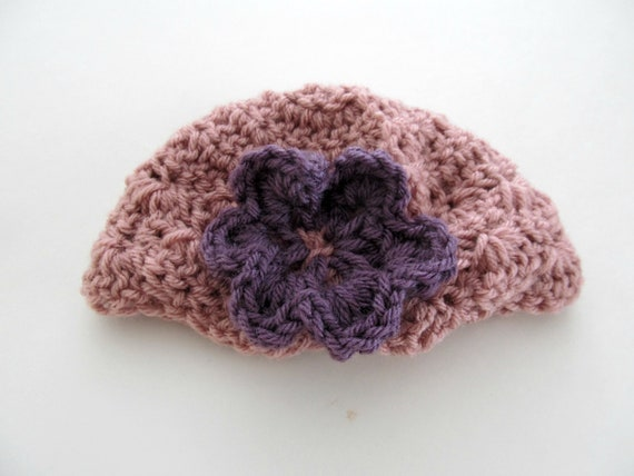 Baby Hat-Crocheted in Mauve with Purple Flower