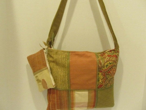 Green and Coral Patchwork Handbag with Ribbon and Matching Coin Purse