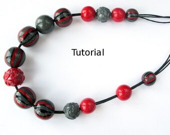 Polymer clay Tutorial. Striped necklace from polymer clay. Black, red and grey
