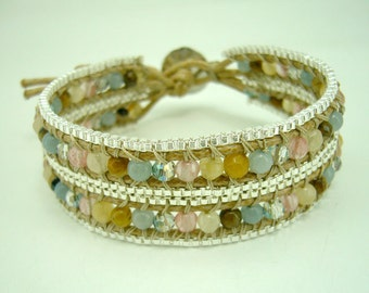 Multi stone wrapped with box chain bracelet