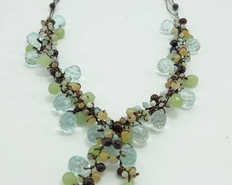 Baby blue drop quartz,crystal,tiger eye long necklace