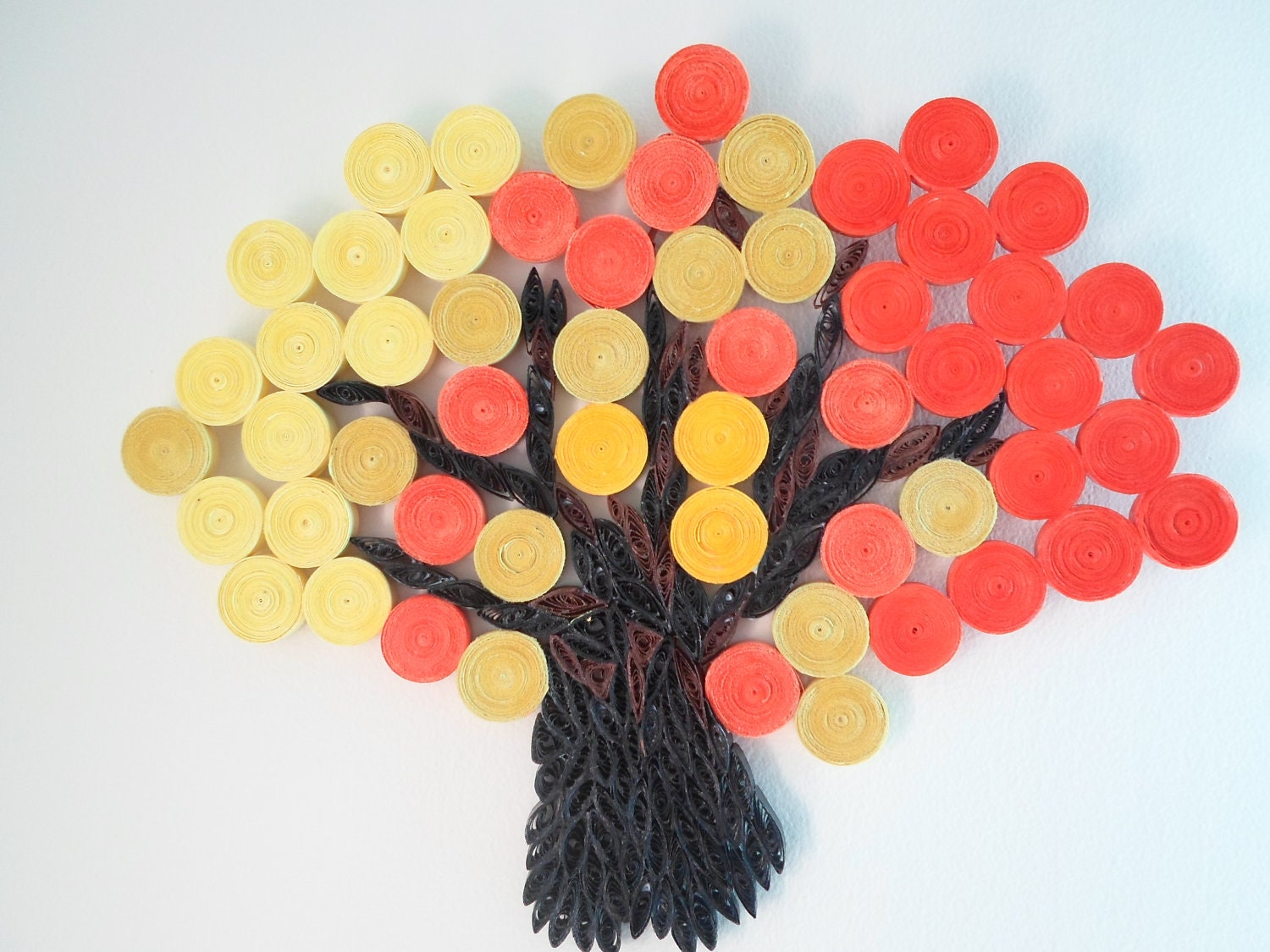 Wall decoration orange yellow wall hanging autumn fall tree for Decoration paper