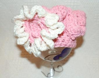 Newborn Baby Cap, Pink Crochet Baby Tam, Baby Spring Hat, Infant Beret, Photo Prop Hat, Crochet Baby Hat, Crochet Baby Beanie