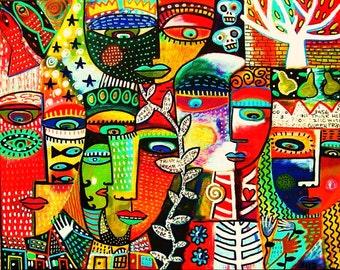 Crowded Ruby City** - SILBERZWEIG ORIGINAL Art PRINT - Tree of Life, Bird of Paradise, Talavera, Skulls, Mermaids, Day of the Dead, Angels