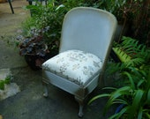 Vintage 1950's White and Gold Wicker Sirrom Weave Bedroom Conservatory Chair
