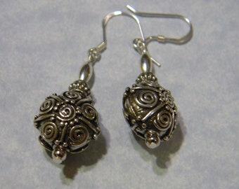 Bali Silver Earrings with Jellyroll Scroll Work.