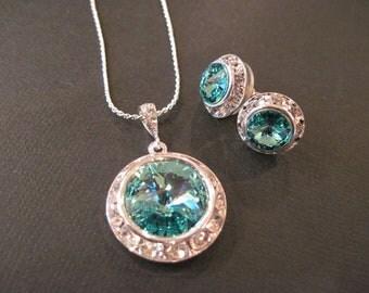 Light Turquoise  Swarovski Crystal Bridesmaid Jewelry Set/ Bling Earings/ Bridesmaid Jewelry/ Wedding Jewelry