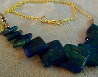 Necklace Azurite Malachite Gold Tear Drop Locket Gold Chain Azure Blue Green Stone Deposits of Copper Pyrite Known for Healing Qualities