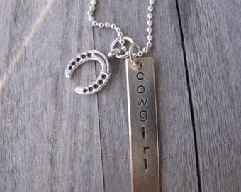 Handstamped Cowgirl Western Necklace