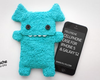 Fluffy Cellphone Case for iPhone 5 & SE - Fellfische - Turquoise