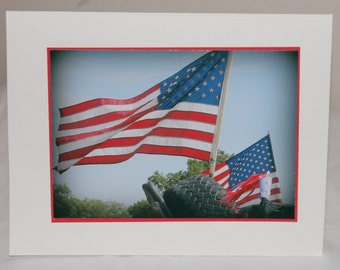 photo card, patriotic, American flag, USA, red white and blue